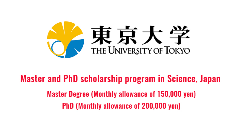 Master and PhD scholarship program in Science, Japan
